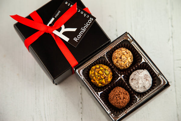 8 dark chocolate truffles of assorted flavors. Handcrafted with 70% Venezuelan Cocoa, the best in the world. Nationwide Delivery.