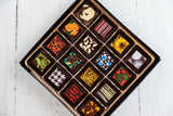 16 or 32 dark chocolate art bonbons of assorted flavors, handcrafted with Venezuelan Cocoa, the best of the world. Vegan flavors are available. Nationwide Delivery.