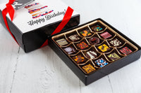 16 gourmet dark chocolate art bonbons and a beautiful Happy Birthday art cover. Handcrafted with 70% Venezuelan Cocoa. Vegan Chocolates Available. Choose between our single layer, double layer, or mixed layer with our signature truffles. Nationwide Delivery.