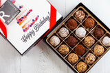 16 dark chocolate Truffles and a beautiful Happy Birthday Art Cover. Handcrafted with 70% Venezuelan Cocoa. Choose between our single layer, double layer, or mixed layer with our chocolate art bonbons. Nationwide Delivery.