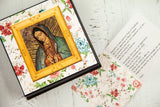 Our Lady of Guadalupe Chocolate Box comes with 9 fine chocolate art bonbons made with solid dark chocolate and the Our Lady of Guadalupe Image imprinted on a white chocolate top. It's the perfect gift for your devoted loved ones and a thoughtful gesture as a Baptism, First Communion, or a Confirmation Sacrament Gift.