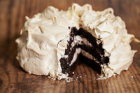 "Dark Chocolate Cake with meringue layers, made with 70% Venezuelan cocoa, this cake is gluten-free and is 6"" diameter. Only Available in the Miami Area."