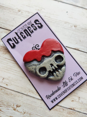 Skull Heart Resin Pin