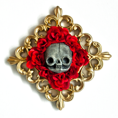 Gold Skull Flower Wall Art