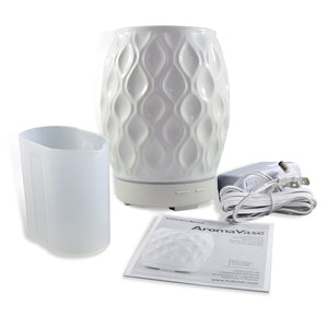 AromaHouse Aromavase Ultrasonic Ceramic Essential Oil Diffuser for Essential Oils and Fragrances Cool Mist Humidifier with Auto Shut-Off (White)