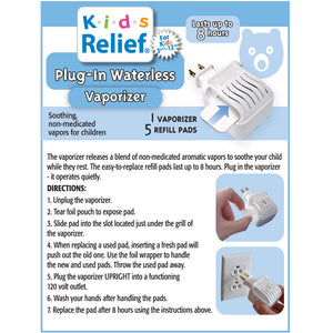 Kids Relief Plug-in Waterless Vaporizer W/5 Soothing Non-Medicated Menthol Eucalyptus Vapor Refills
