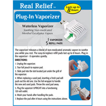 Load image into Gallery viewer, Real Relief Plug-in Waterless Vaporizer W/5 Soothing Non-Medicated Menthol Eucalyptus Vapor Refills
