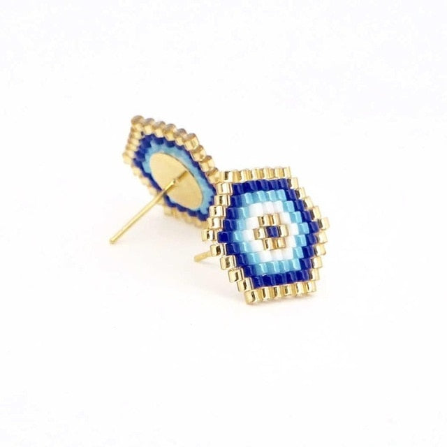 Boho Chic Evil Eye Stud Earrings