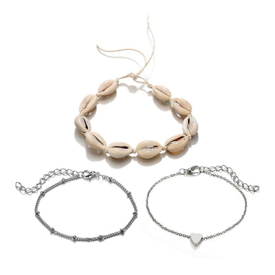 Bracelet Cheville Coquillage Blanc | Coquillages Boutique
