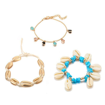Bracelet de Cheville Coquillage Cauri | Coquillages Boutique