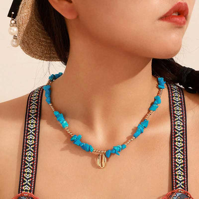 Collier Coquillage Bleu