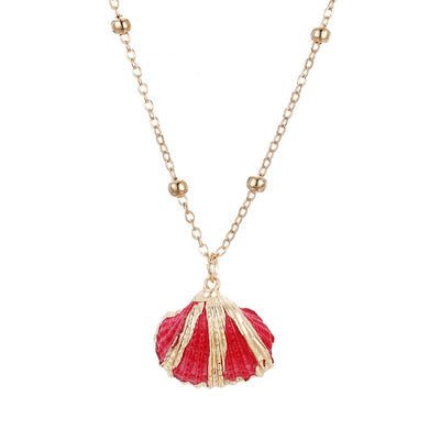 Pendentif Coquillage Bucarde Rouge