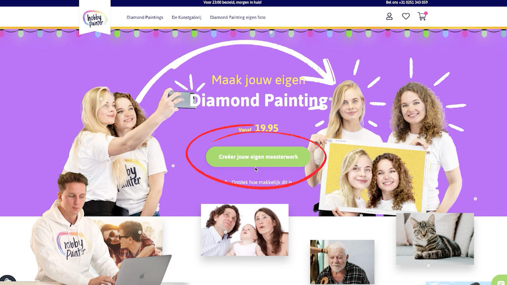 custom diamond painting klik op de knop