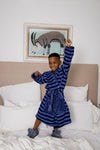 Snuggly Kids Robe Navy Stripe