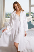 White Satin Stripe Cotton Gown