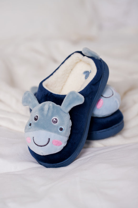 Kids Navy Puppy Velvet Slippers