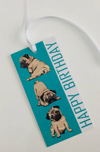 Green Pug Happy Birthday Gift Tag