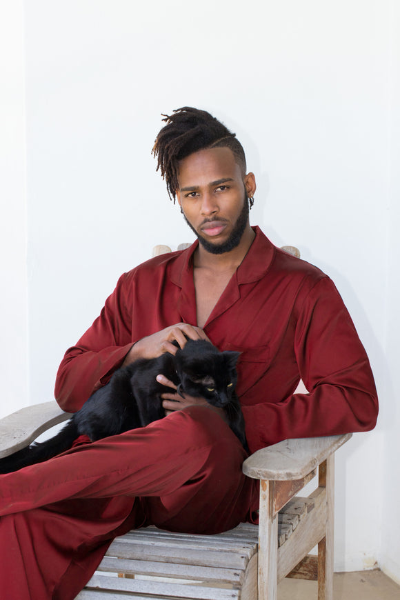 Mens Wine Satin PJ's