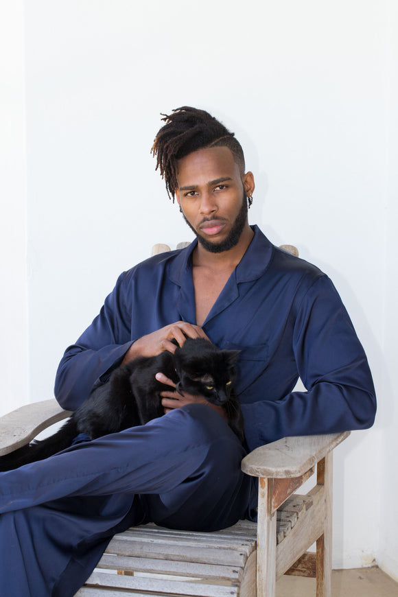 Mens Navy Satin PJ's
