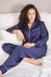 Womens Satin PJ's Navy/White Piping