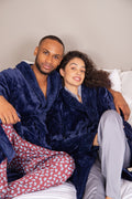 Supersoft Luxury Waffle Collar Robe Navy