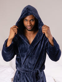 Supersoft Luxury Robe with Hood Navy