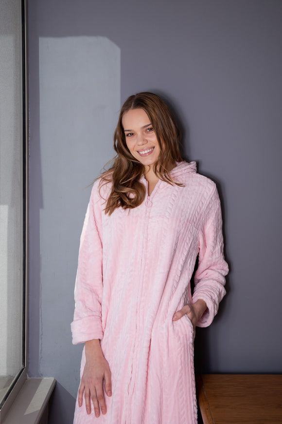 Luxury Super Soft Cable Robe with Zip & Hood Pink