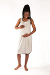 Grey/Ivory Stripe Preggie Nighty