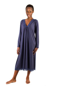 Super Soft Modal Lace Nightie LS Navy