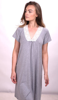 Super Soft Modal Lace Nighty Grey