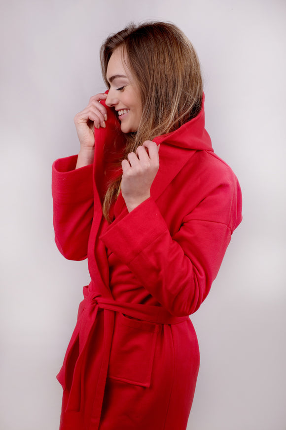 Robe Red Cotton Fleece