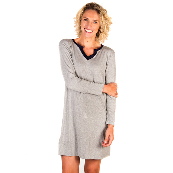 Super Soft Notch Neck Grey Modal Nightshirt