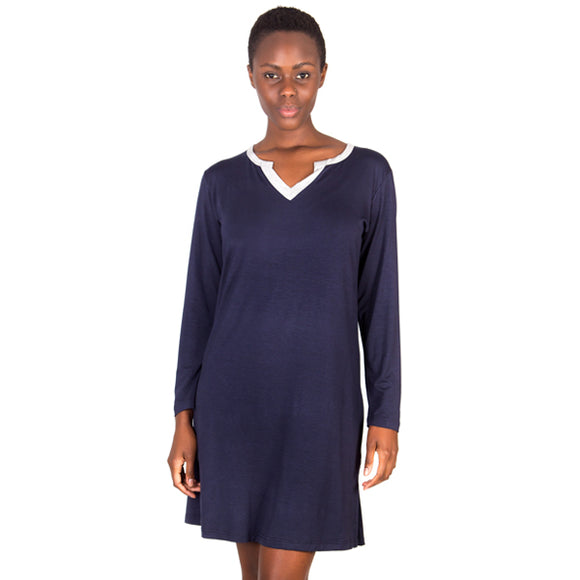 Super Soft Notch Neck Navy Modal Nightshirt