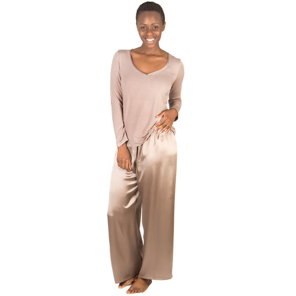 Women's Pure Silk & Bamboo Cotton Oyster Pyjama's