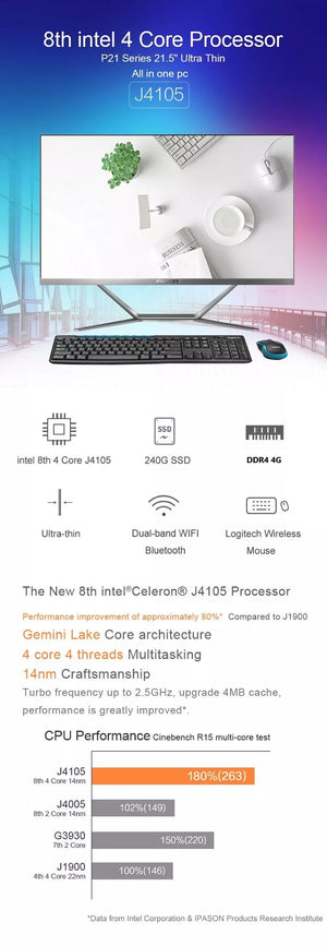 IPASON all in one PC 21.5 inch Intel 4 Core 4G DDR4 RAM 240G SSD