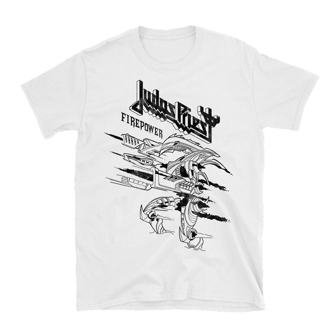 Firepower Line Drawing White T-Shirt