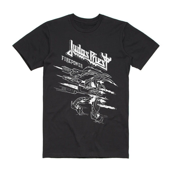 Firepower Line Drawing Black T-Shirt