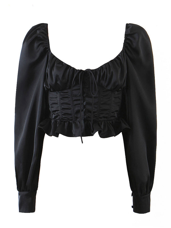 Square Collar Ruched Corset Crop Top