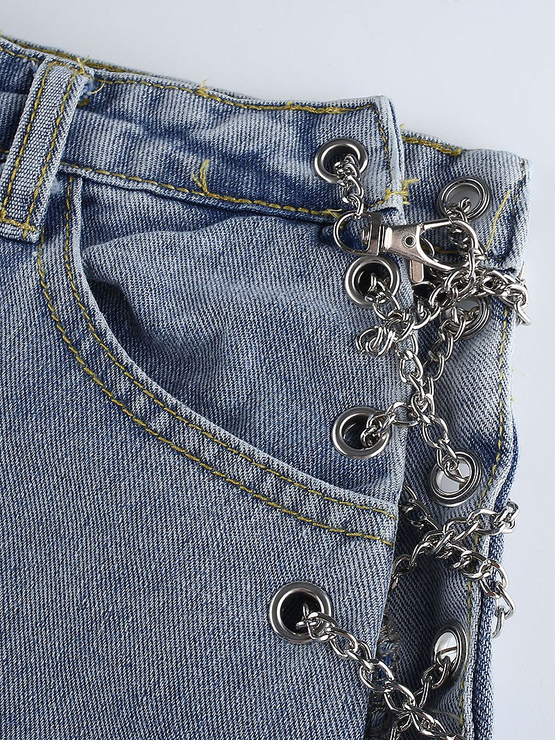 Side Chain Criss Cross High Waist Jeans
