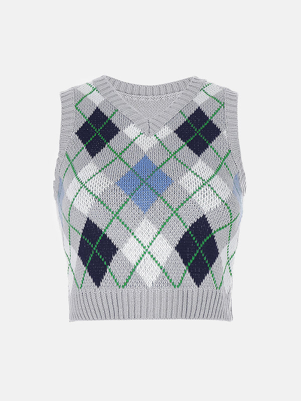Argyle Crop Sweater Vest