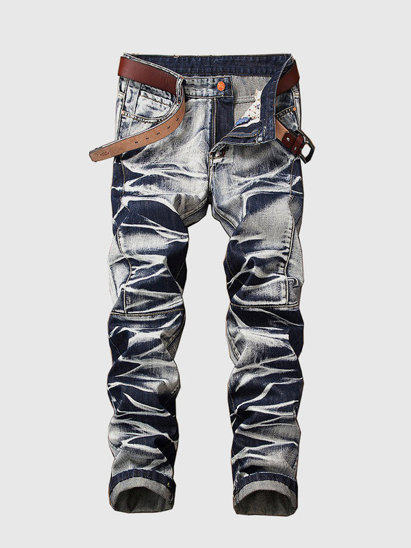 Men's Stone Wash Straight Jeans