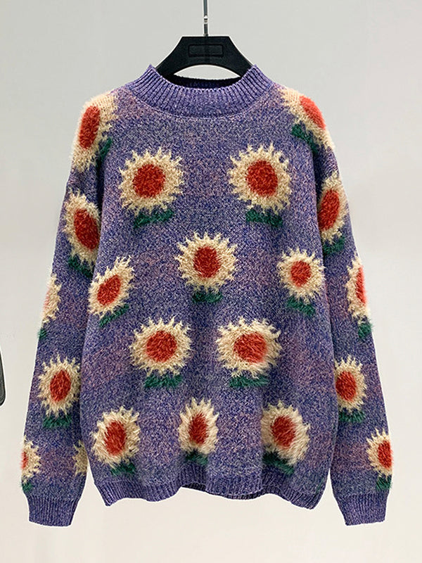 Sunflower Embroidery Pattern Loose Sweater
