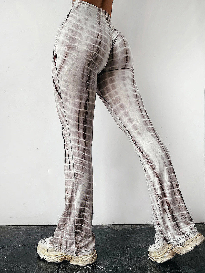 Pattern Print High Waist Flare Leg Pants