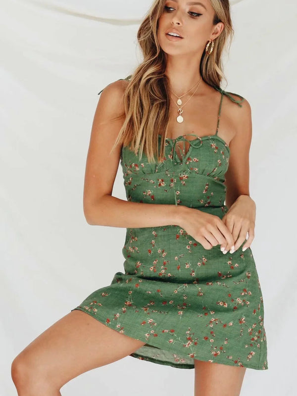 Floral Print Tie Up A-Line Mini Cami Dress