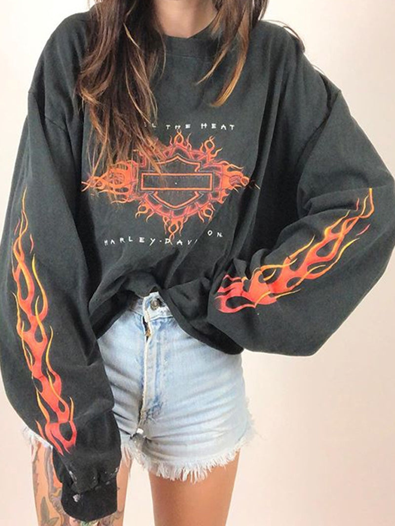Flame Print Roun Collar Long Sleeve Sweatshirt