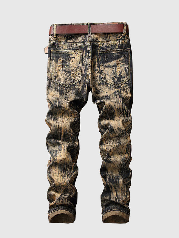 Men's Leo Embroidery Ripped Jeans