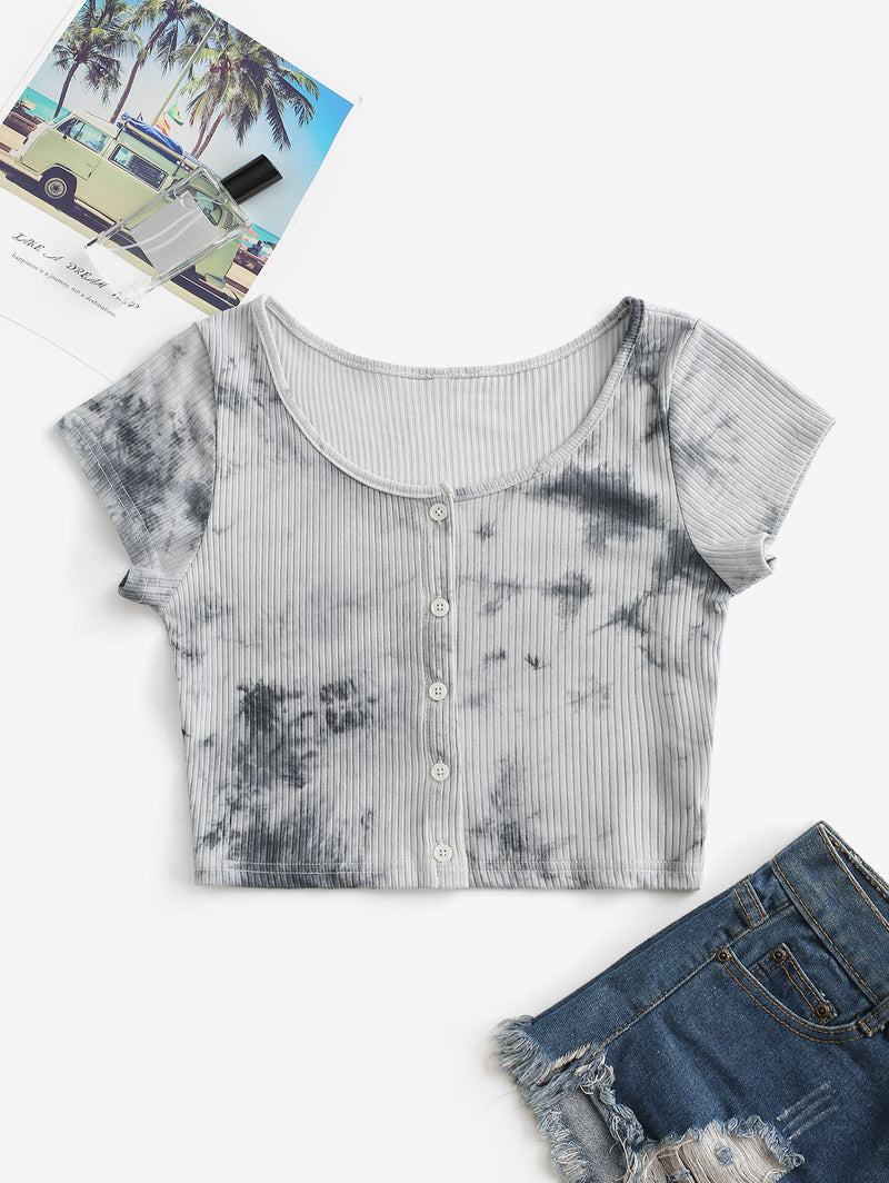 Tie Dye Ribbed Button Up Crop Top
