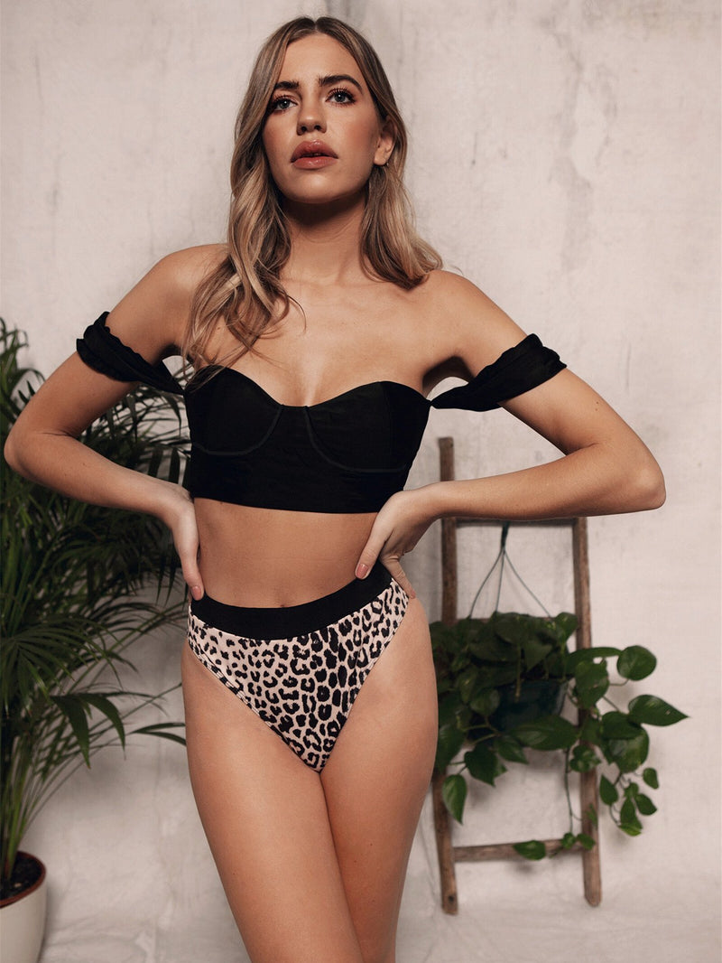 Strapless Solid Leopard Backless Bikinis Set
