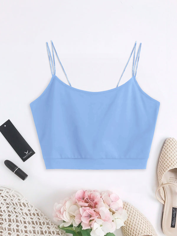 WELOOC Solid Color Crop Strappy Cami Top