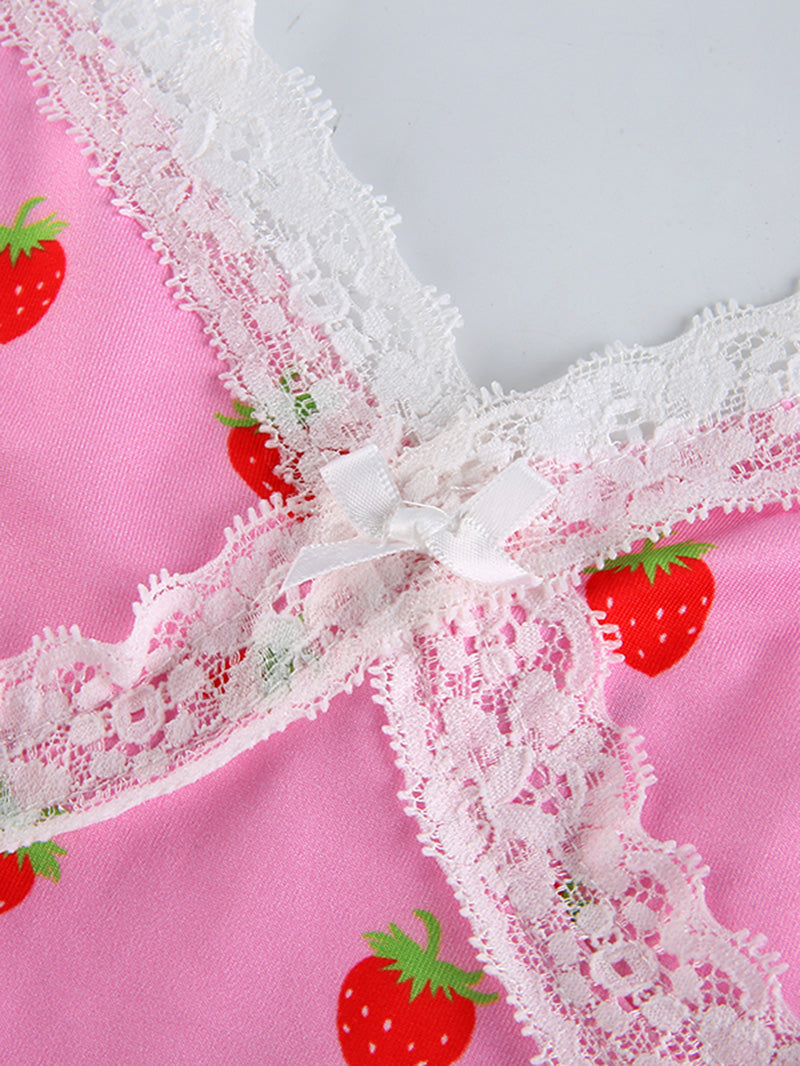 Strawberry Print V Neck Lace Cami Top